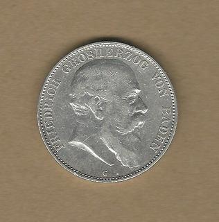 Imperio Alemán 4: 5 Mark 1903g Baden Plata Vf-xf C904