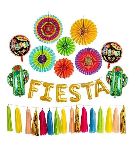 Kit Set Decoración Fiesta Mexicana Girasoles Globos