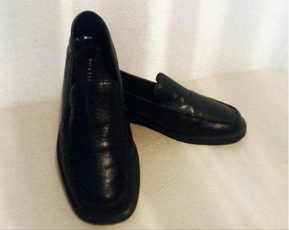 Zapatos Mocasines Negros (cuero) Mujer Boating (como Nuevos)