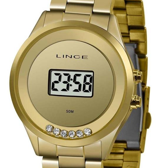 Relógio Lince Digital Feminino Sdg4610l Bxkx Dourado C/ Nf-e