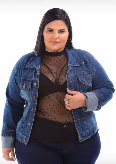 Jaqueta Femininia Jeans Plus Size Tamanhos Grandes G1 G2 G3