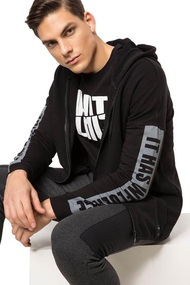 Suéter Deportivo Con Capucha Para Hombre H3331az_bk27 Negro