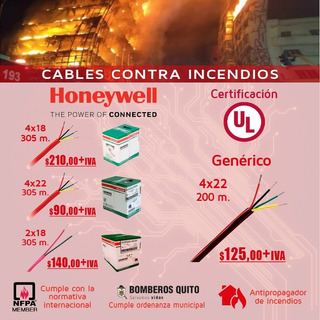 Cable Antiflama Rollo 305m Ul Contra Incendio 4 Hilos
