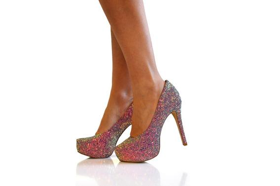 Sapato Debutante Scarpin Meia Pata Todo Gliter Furtacor 65