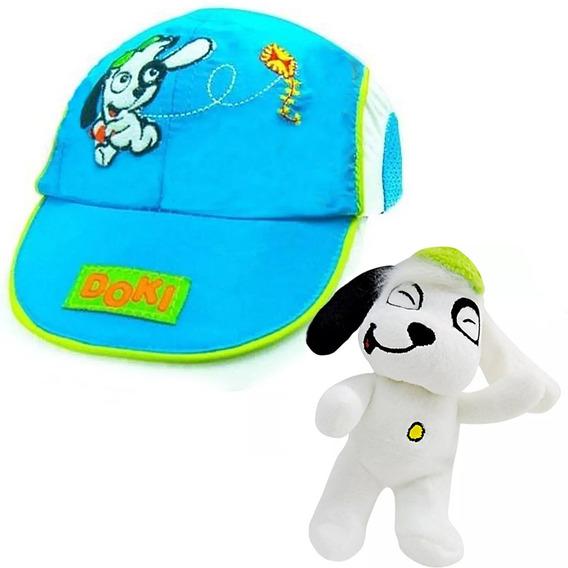 Boné Infantil Doki Discovery Kids Azul Butterfly + Pelúcia