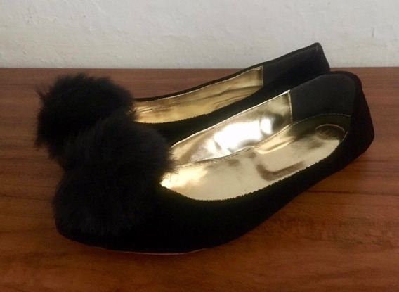 Zapatos Flats Negro Talla 24 Isk   Mujer Gamuza Pompón Calzado Dama