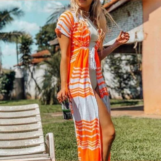 Saídas De Praia Longa Kimono Verão Zig Zag Listrada