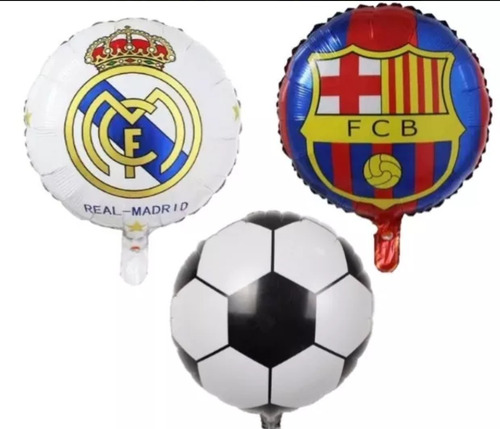 Globos De Futbol Metalizado   Real Madrid Barca