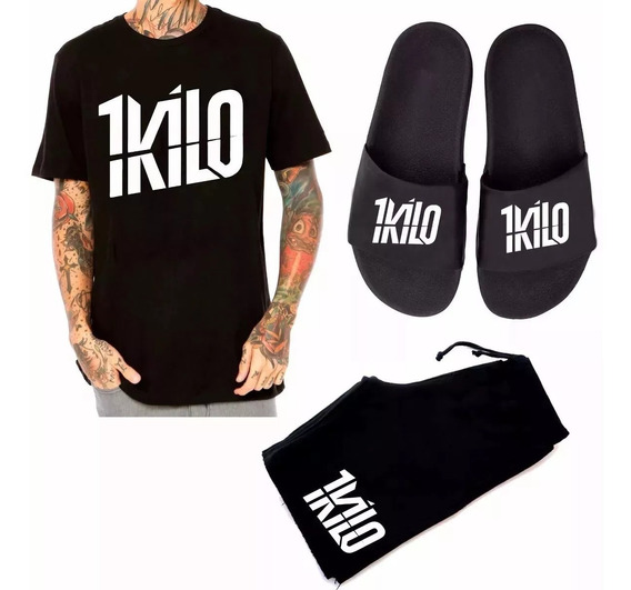 Kit 1kilo Bermuda Camisa Banda 1kilo+ Chinelo Banda 1kilo