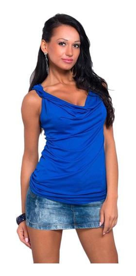 Camiseta Feminina Casual Com Decote Em V Sem Mangas Sólido