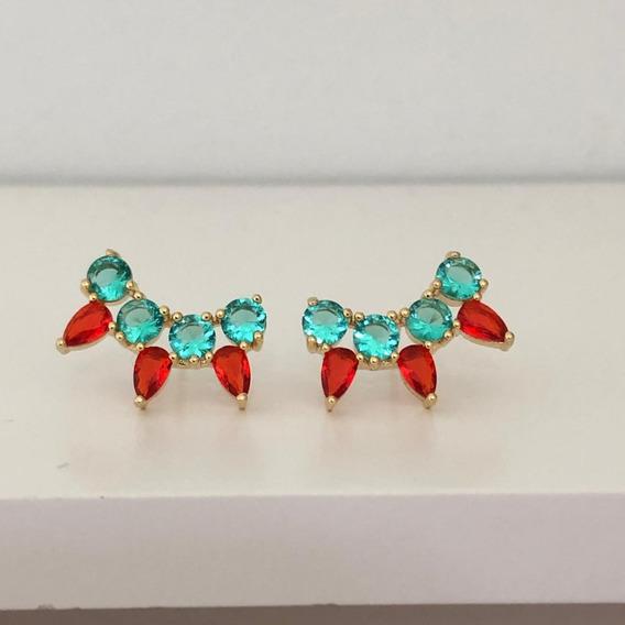 Brinco Feminino Ear Cuff Colorido Verde Vermelho Dourado