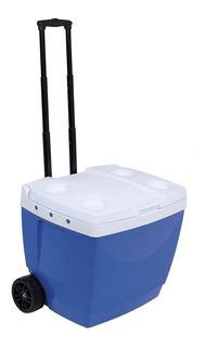 Caixa Térmica 42 Litros Azul Com Rodinha - Mor 25108221