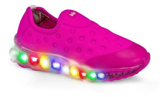 Tênis Infantil Bibi Pink Com Luz 100% Original Com N F