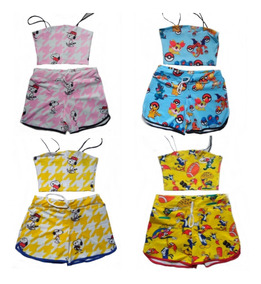 Conjunto Cropped E Shorts Feminino Personagens Bob Kit C/5