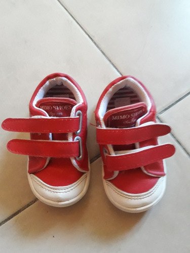Zapatillas Mimo.de Cuero Con Abrojo Talle 22 Un Uso