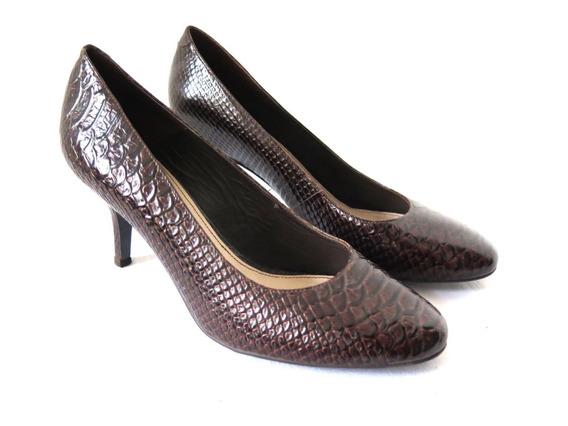 Zapatos Marca Conocida Croco Chocolate Numero 40 Como Nuevos