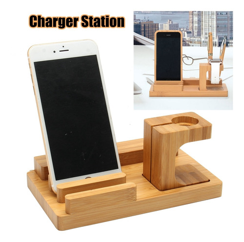 Household/office Bamboo 4 Charger Hole Charging Dock Station