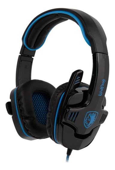 Headset Gamer Sades Wolfang Surround 7.1 Usb Preto/azul