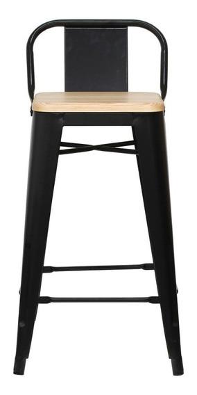 Piso Taburete Form Design 66 Cm Tolix Madera C/ Resp Negro