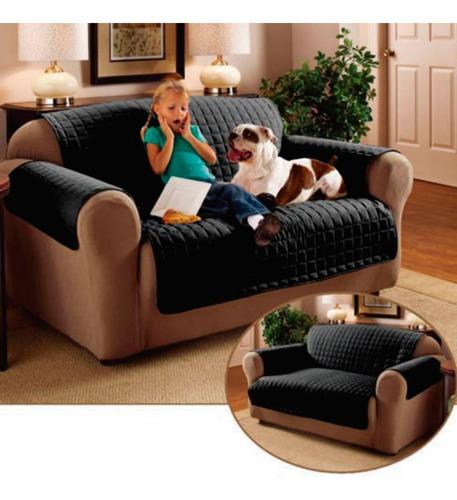 Protector De Sofa 2 Puestos Doble Faz Negro - Vinotinto