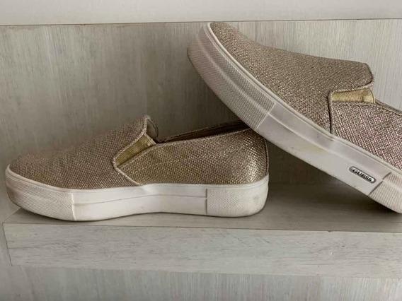 Zapatillas Sneakers Panchas Guess Doradas 1 Solo Uso