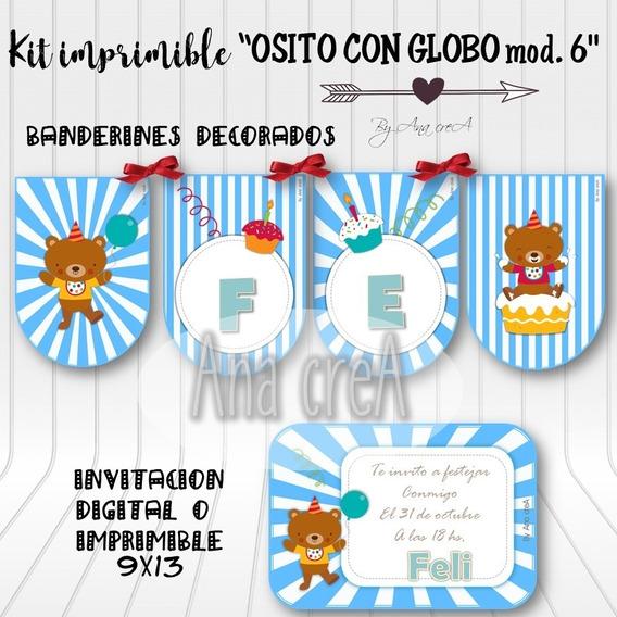 Kit Personalizado Osito Con Globo - Mod. 6 - Imprimible Oso