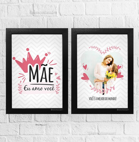 a8b594eee05a8d Kit 2 Quadros Personalizados Foto Presente Mãe Rainha Amor