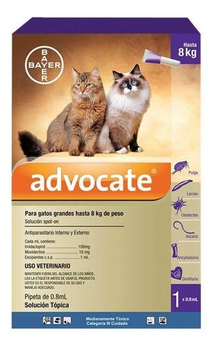 Advocate Gatos Spot On Pipeta Pulgas Acaros Sarna 4 - 8kg