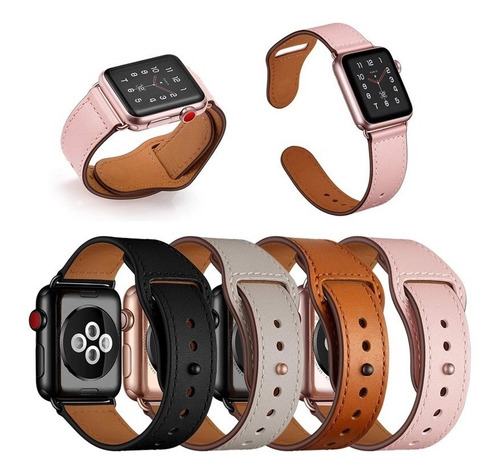 Correa 100% Cuero Genuino Lujo 4 Colores Para Apple Watch