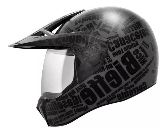 Capacete Bieffe 3 Sport Mirror Cross Enduro Preto Fosco