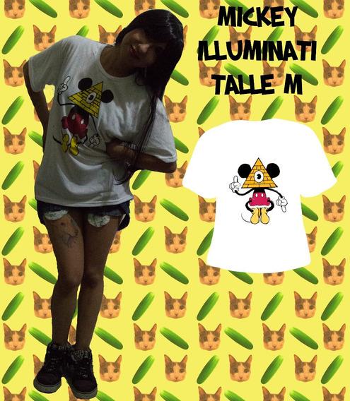 Remera Mickey Illuminati Mujer - Varios Motivos