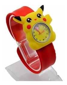 Relógio Analógico Pokemon Pikachu Amarelo E Vermelho Barato