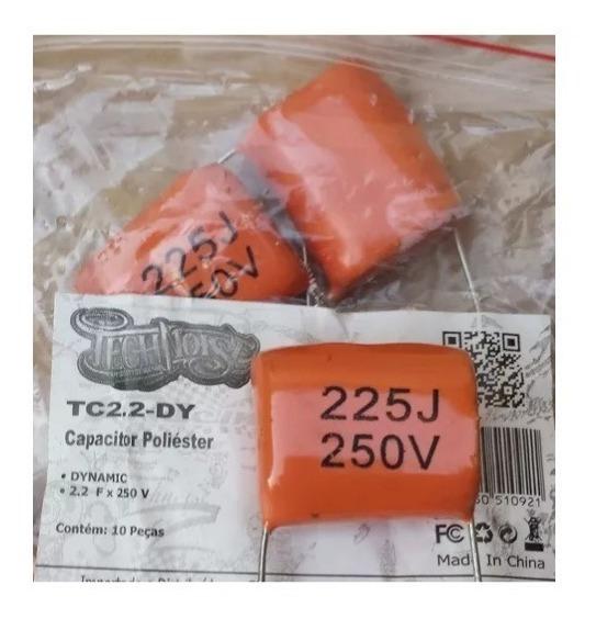 10 Capacitor Poliéste Bipolar 2,2x250 Drive Corneta Titanio