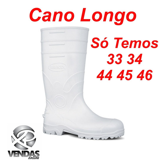 Bota Pvc Borracha Branca Cano Longo Bracol Acqua Fort80bp