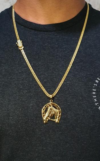Corrente Ouro Grumet Banhado A Ouro Pingente Ferradura