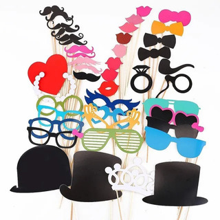 Photo Booth Props Kit Fiestas Bodas Cartelitos 30 Unidades