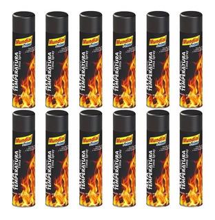 Kit 12 Tinta Spray Preto Fosco Alta Temperatur 400ml Cod2274