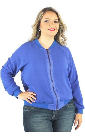 Jaqueta Em Tecido Com Ziper Plus Size Roupa Para Gordinha