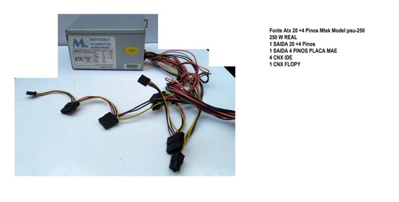 Fonte Atx 20 +4 Pinos Mtek Model:psu-250 250 W Real Ide