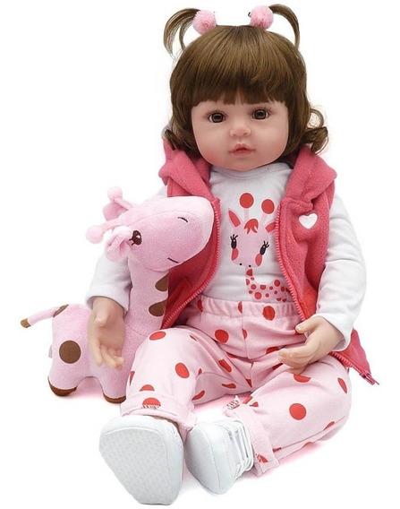 Boneca Bebê Reborn Realista De Silicone Npk + Girafinha