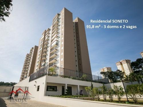 Apartamento Com 91,8 M², 3 Dorms Para Venda No Residencial Soneto Em Jundiaí Sp. - Ap00019 - 31949497