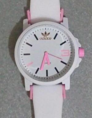 Relógio Branco Com Rosa Color Colorido Casual Sport