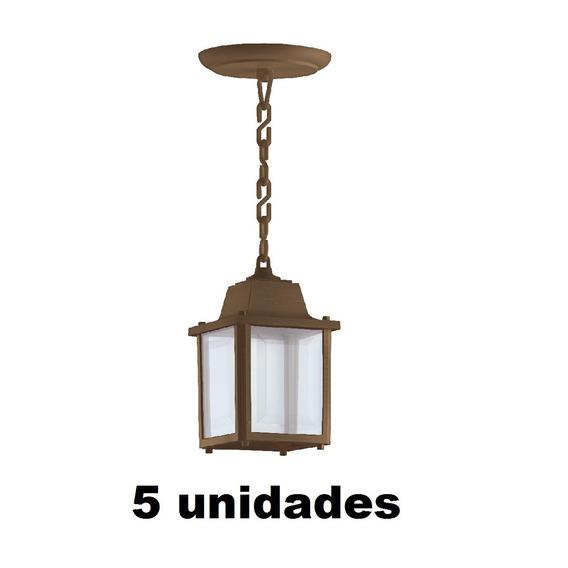 5 Luminaria Pendente Externa Colonial E27 Retro Marrom Alz15