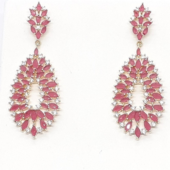 Brinco Com Mini Pedras Rosa E Mini Zirconias Brancas, Semi J