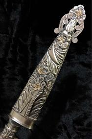 Punhal Adaga Faca Gaúcha Prata Lei E Ouro Antiga 25,5cm