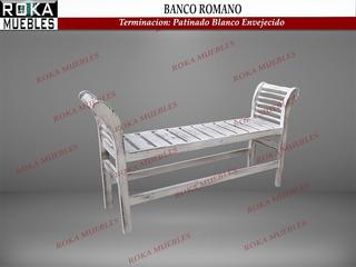Banco Romano Cleopatra Pie De Cama Patinado Envejecido Roka