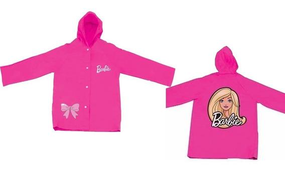 Capa De Chuva Rosa Da Barbie Infantil Tamanho M Com Touca