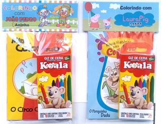 30 Kits Livro De Colorir + Giz C/ Embalagem E Personalizado