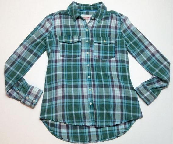 Camisa Leñadora Manga Larga Mujer Usa Verde Talle M 780