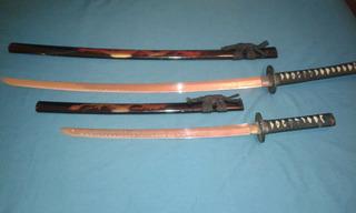Juego De Sables Samurai Decorativos + Obsequio !!!